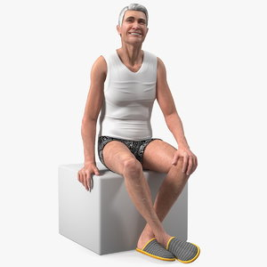 3D old man underwear sitting model