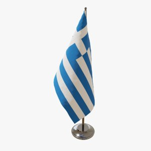 3D model table flag greece