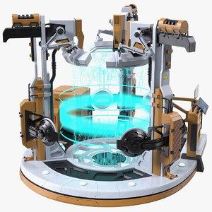 3D sci fi operating teleportation