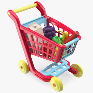 children shopping cart grocery 3D model