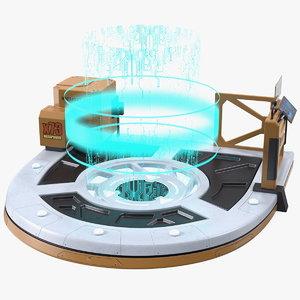 3D model sci fi operating teleport