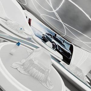 futuristic car showroom 1 3D model