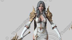 3D phantasy warrior girl rigged