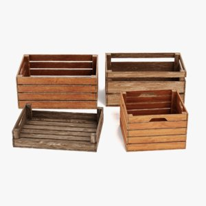 3D model wooden boxes contains