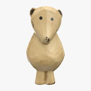 carved wooden polar bear 3D model
