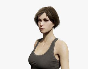 3D army girl model