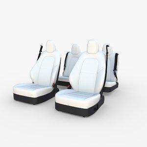 3D tesla y seats model