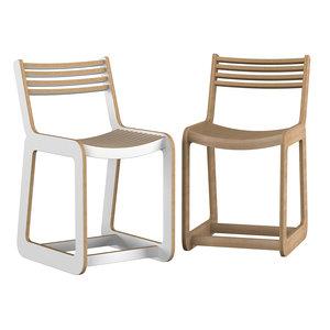 d chair slatted 3D model