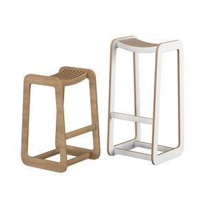 d-bar stool slatted 3D model
