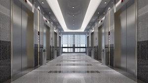 3D model elevator lobby interior