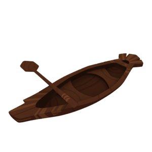 wood canoe 3D model