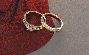 3D brand ring couple wedding