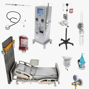 3D hospital equipment syringe model