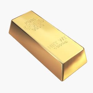 3D model gold bar 1