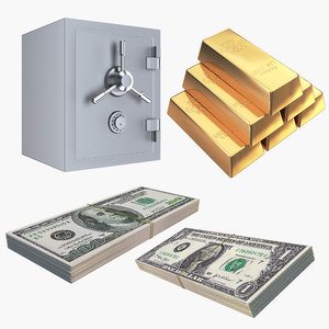 money gold safe bills 3D