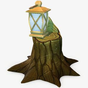 3D model handpainted stump lantern