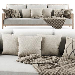 sofa garden three-seater 3D