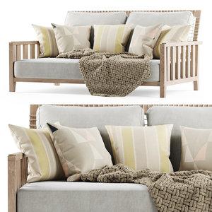 3D model sofa wooden garden