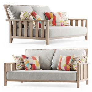 3D sofa wooden garden model
