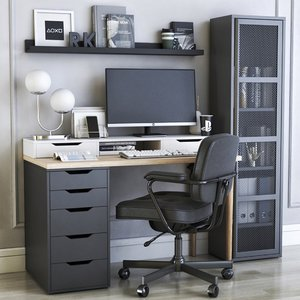 3D office cabinet chair bookcase model