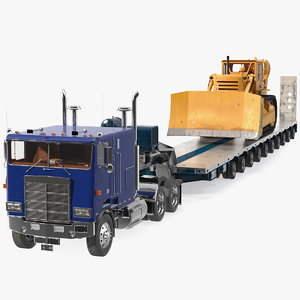 cabover truck bulldozer heavy 3D model