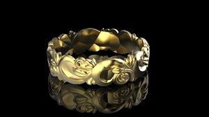 3D flower pattern ring model