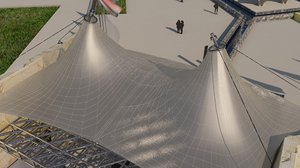 tensile shading canopy structure 3D model