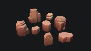 stylized stone desert 3D model