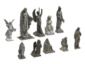 10 cemetery statues pack 3D model