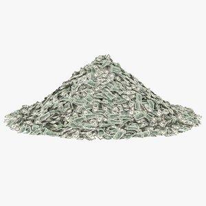 2 dollar bill pile 3D model
