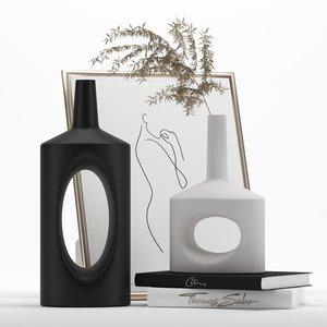 3D model decorative set holed vases