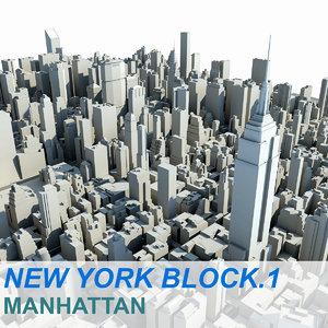 new york manhattan block 3d model