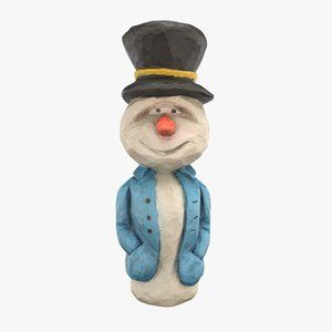 carved wooden snowman 3D model