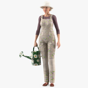 old lady gardening outfit 3D model