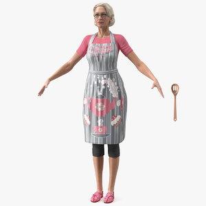 3D elderly woman kitchen apron