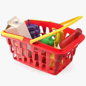 3D children shopping basket grocery