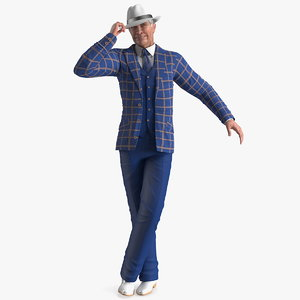3D model elderly man leisure suit