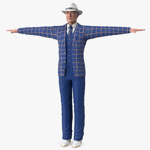 3D elderly man leisure suit