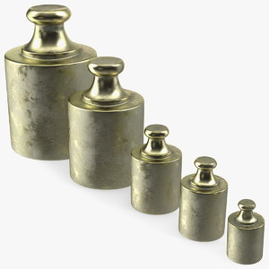 3D antique scale weights set model