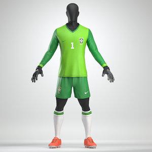 3D goalkeeper soccer uniform model