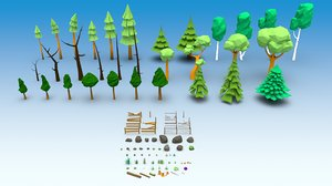 trees plants grass mushrooms 3D
