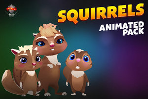 squirrels pack animations 3D model