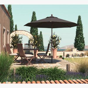 mediterranean gardens 3D model