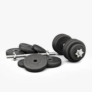3D dumbbell weight sport model