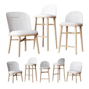 3D model stellar works bund dining chair