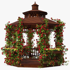 3D wooden gazebo covered red roses model