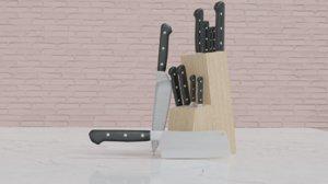 3D kitchen knife set