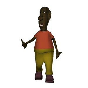 3D character black man model