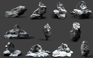 rocks snow 3D model