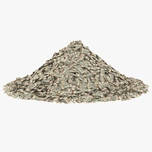 3D 10 dollar bill pile